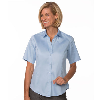 Women's Classic Cotton Shirt (Short Sleeve) light blue model