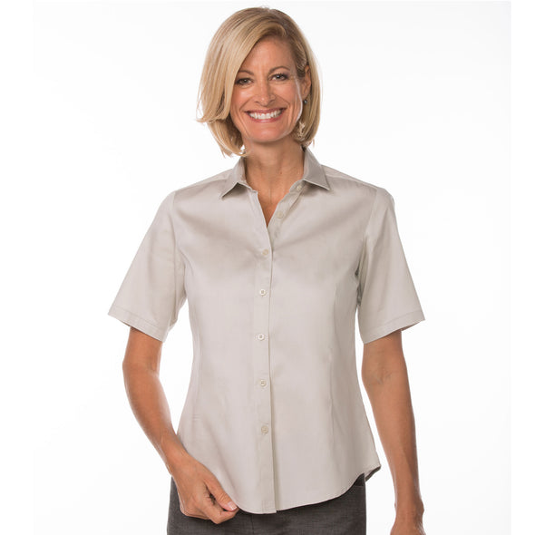 Women's Classic Cotton Shirt (Short Sleeve) gray model
