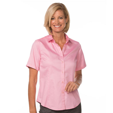 Women's Classic Cotton Shirt (Short Sleeve) light pink model