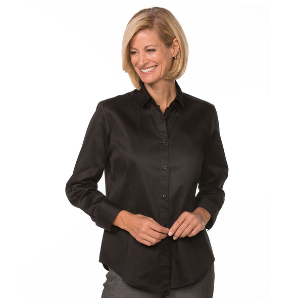 Button Up Long Sleeve Women's Cotton Shirt black model