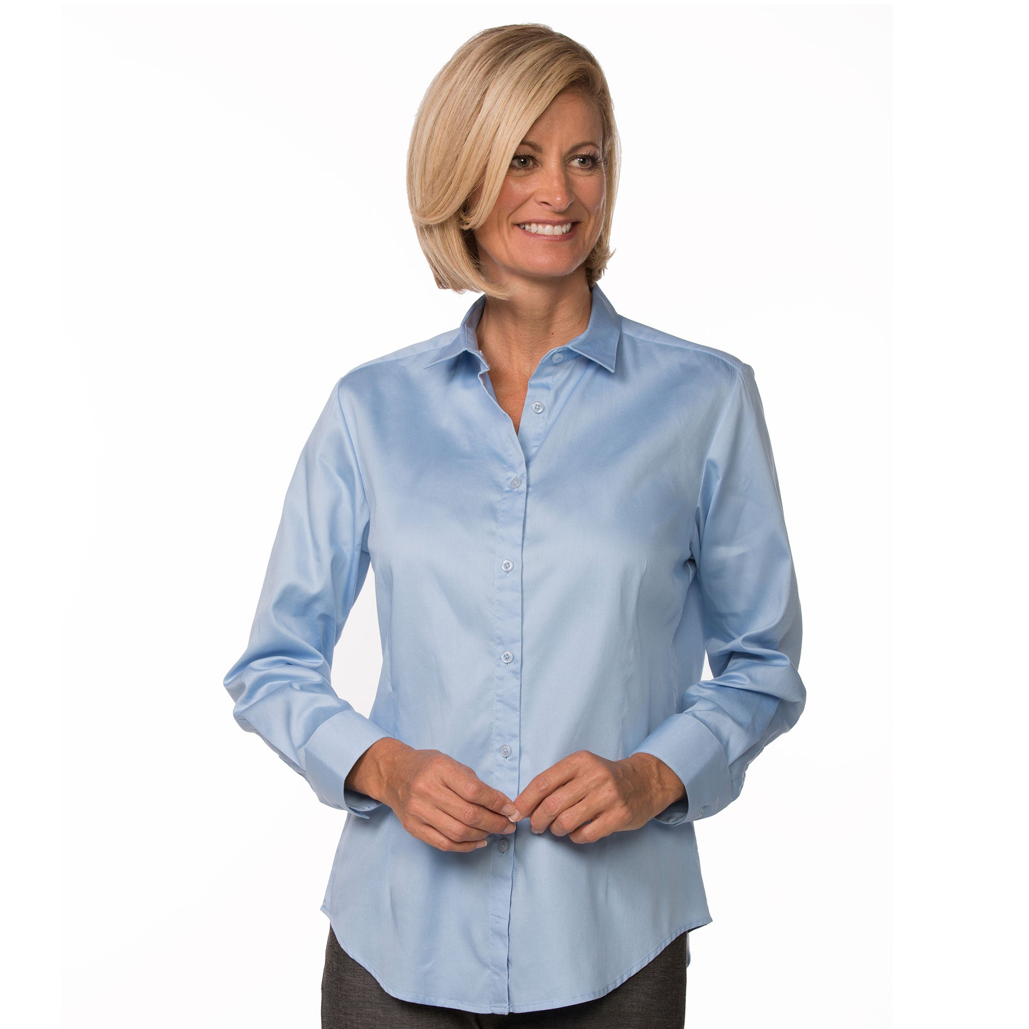 dd4fab8312 Light Blue Button Up Long Sleeve Women's Cotton Shirt – Urban Boundaries