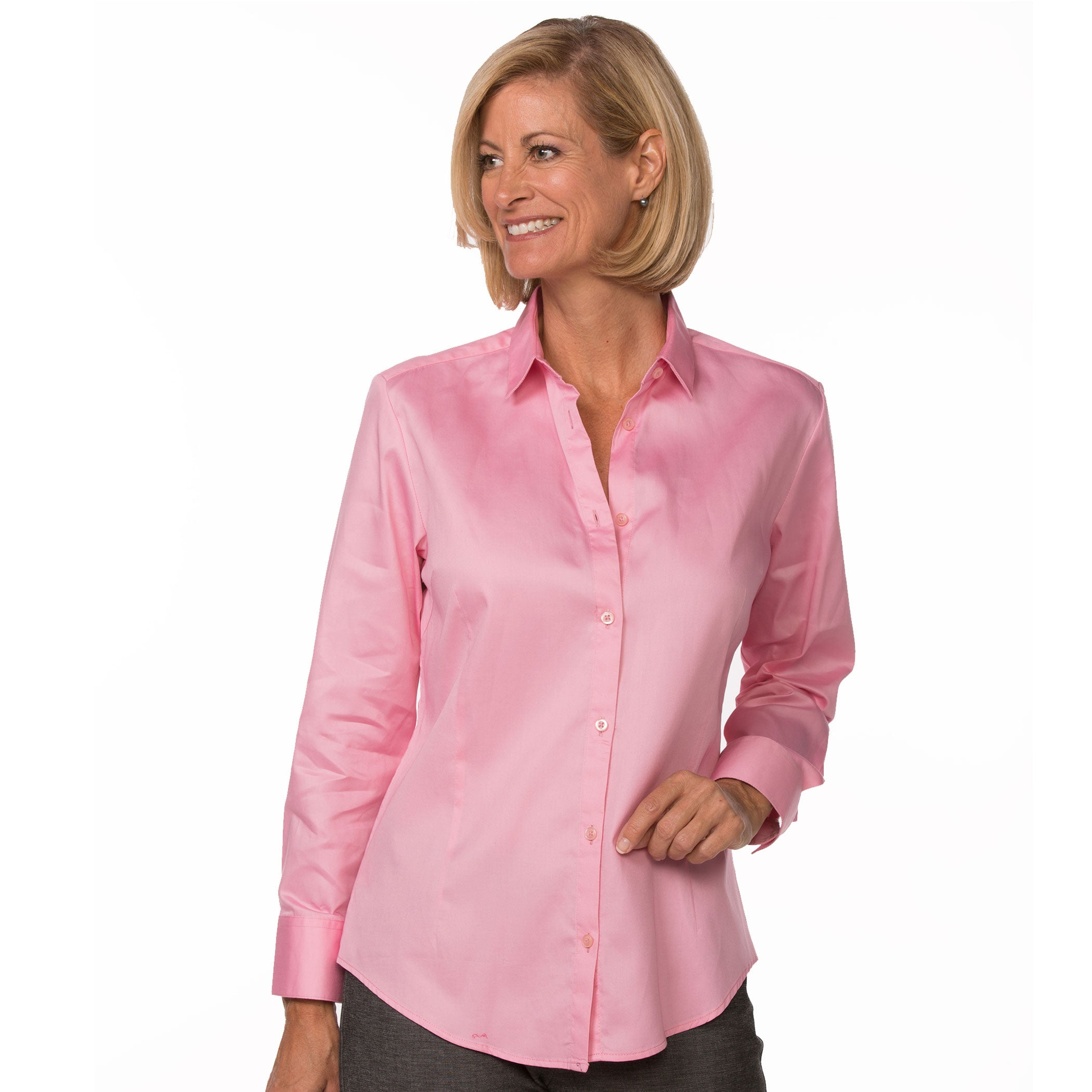 Light Pink Button Up Long Sleeve Women S Cotton Shirt