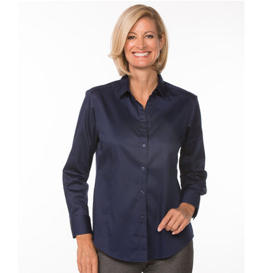 Button Up Long Sleeve Women's Cotton Shirt navy model