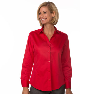 Button Up Long Sleeve Women's Cotton Shirt red model