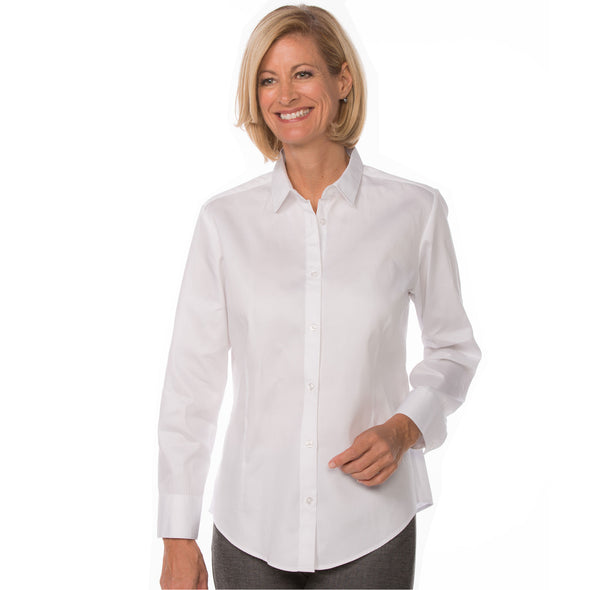 Button Up Long Sleeve Women's Cotton Shirt white model