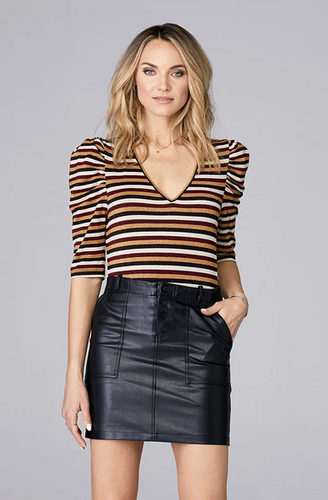 David Lerner Lurex Stripe Puff Sleeve Top