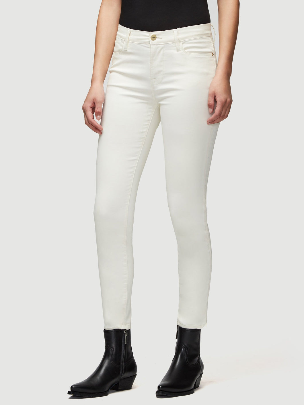 Frame High Coated Rise Skinny Jean in Cream