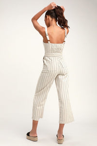 J.O.A. Striped Button-Up Jumpsuit