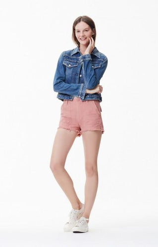 Citizens of Humanity Mid Rise Twill Short in Faded Light Pink