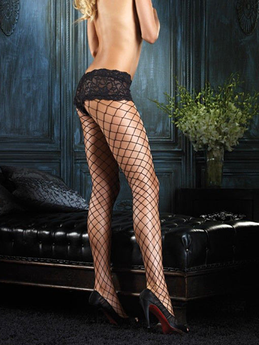 Diamond Net Pantyhose | Lace Boyshort
