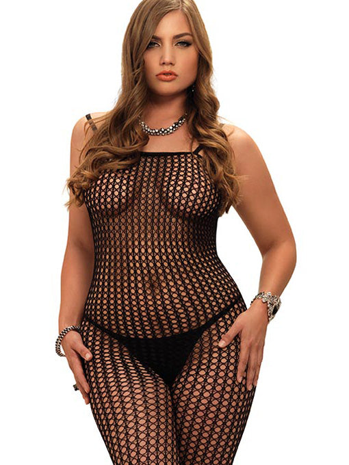 Plus Size Crochet Net Bodystocking