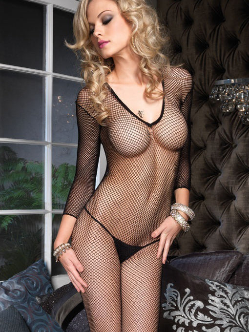 Elle | Deep V Fishnet Bodystocking