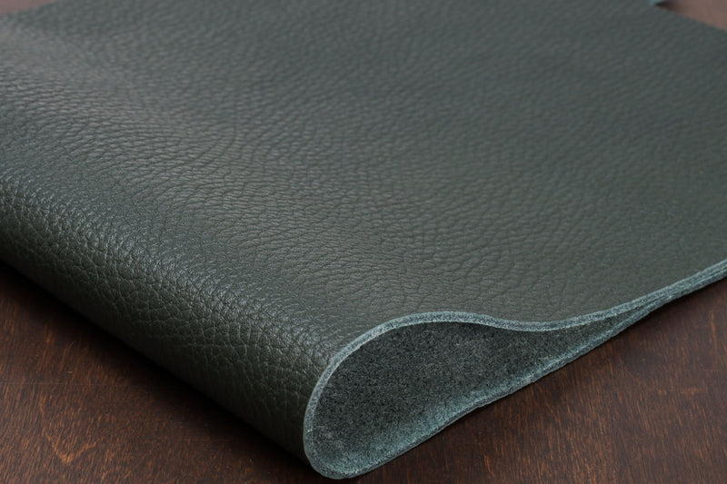Italian Pebble Grain Cowhide, Forest Green