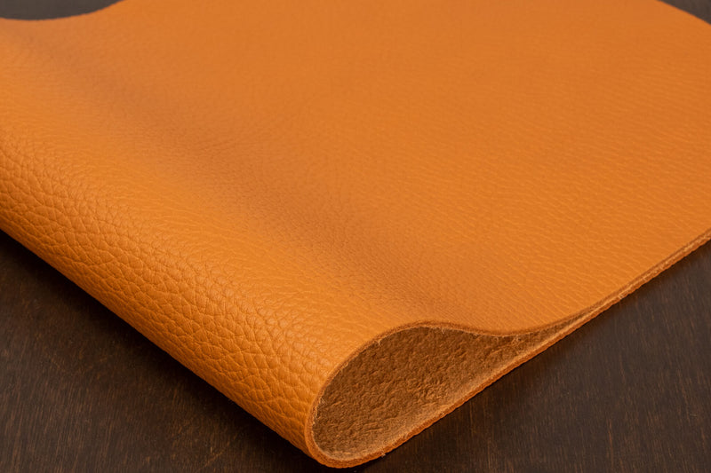 Italian Pebble Grain Cowhide, Orange