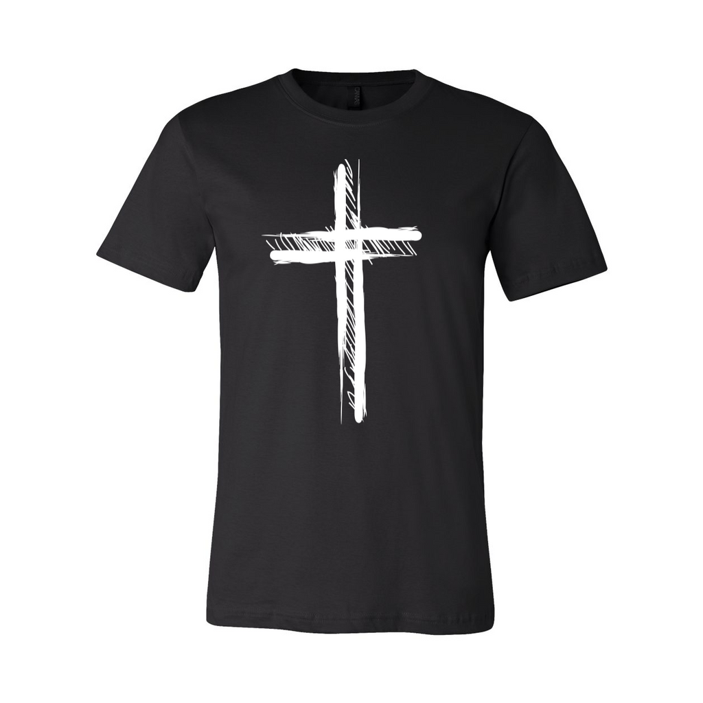 Black Cross Christian T-Shirt with white slightly faded cross on the front.