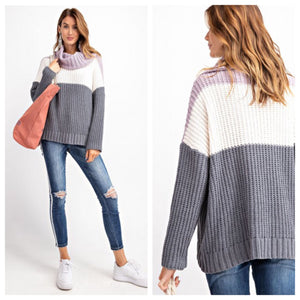 Lilac Haze Color Block Sweater