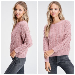 Mauve Fringe Sweater