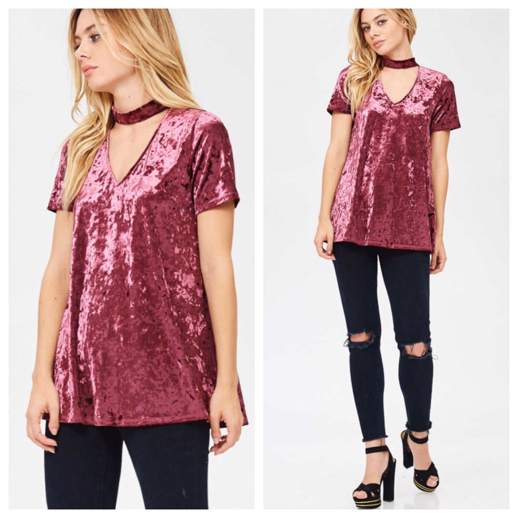 Rosey Crushed Velvet Top