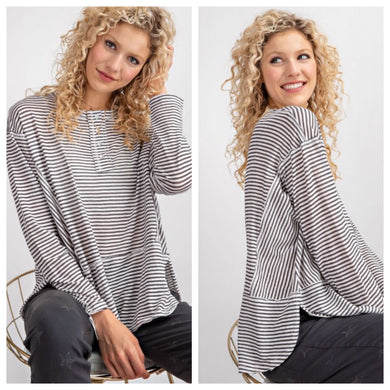 Grey Striped Weekender Top