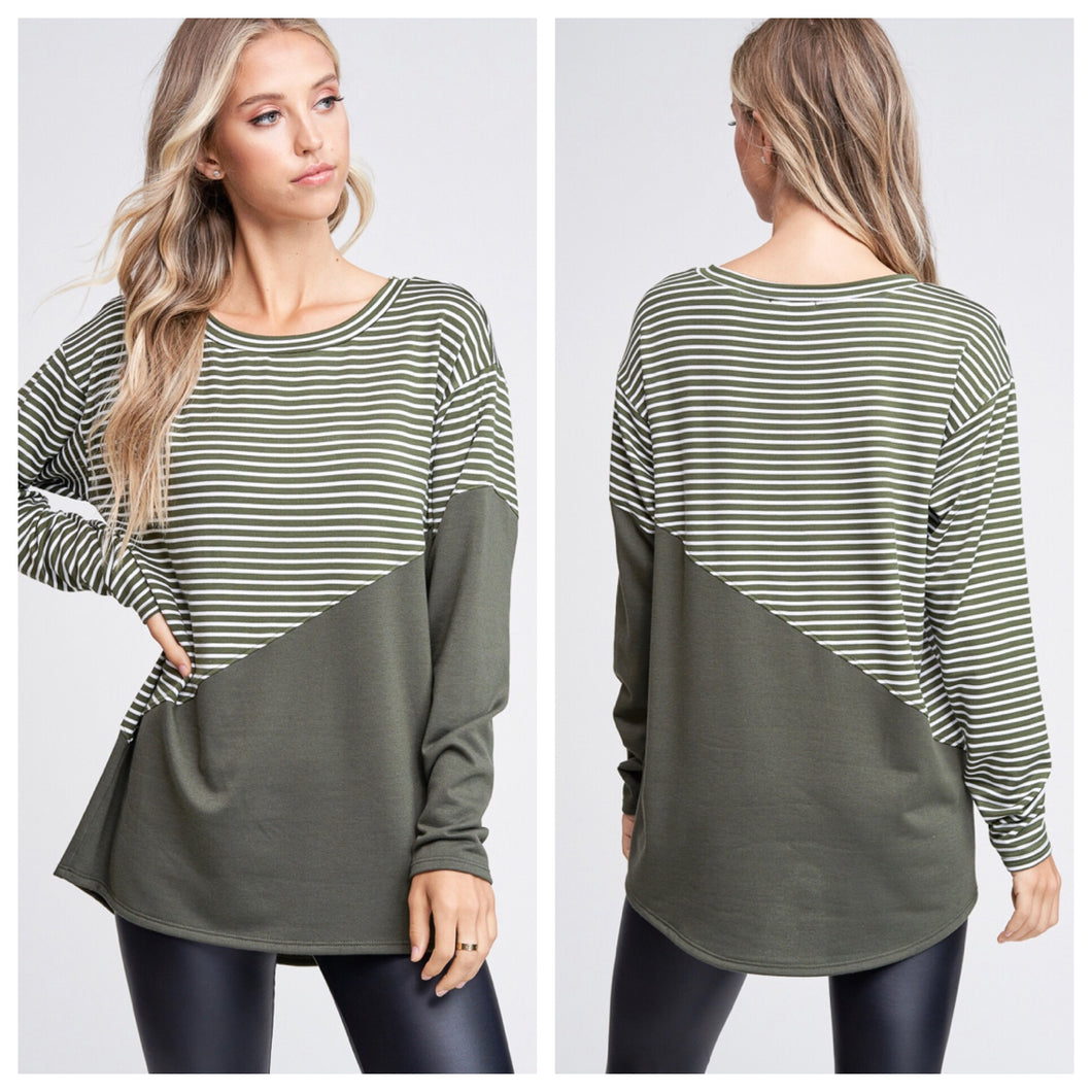 Olive Geo Striped Top