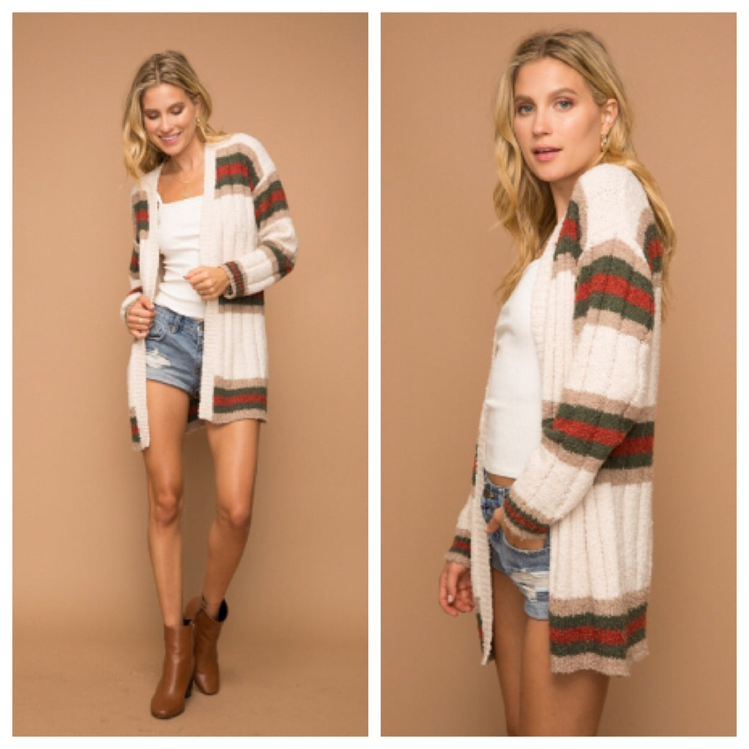 Falling Leaves Striped Cardigan