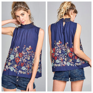 Macey Floral Embroidery Top