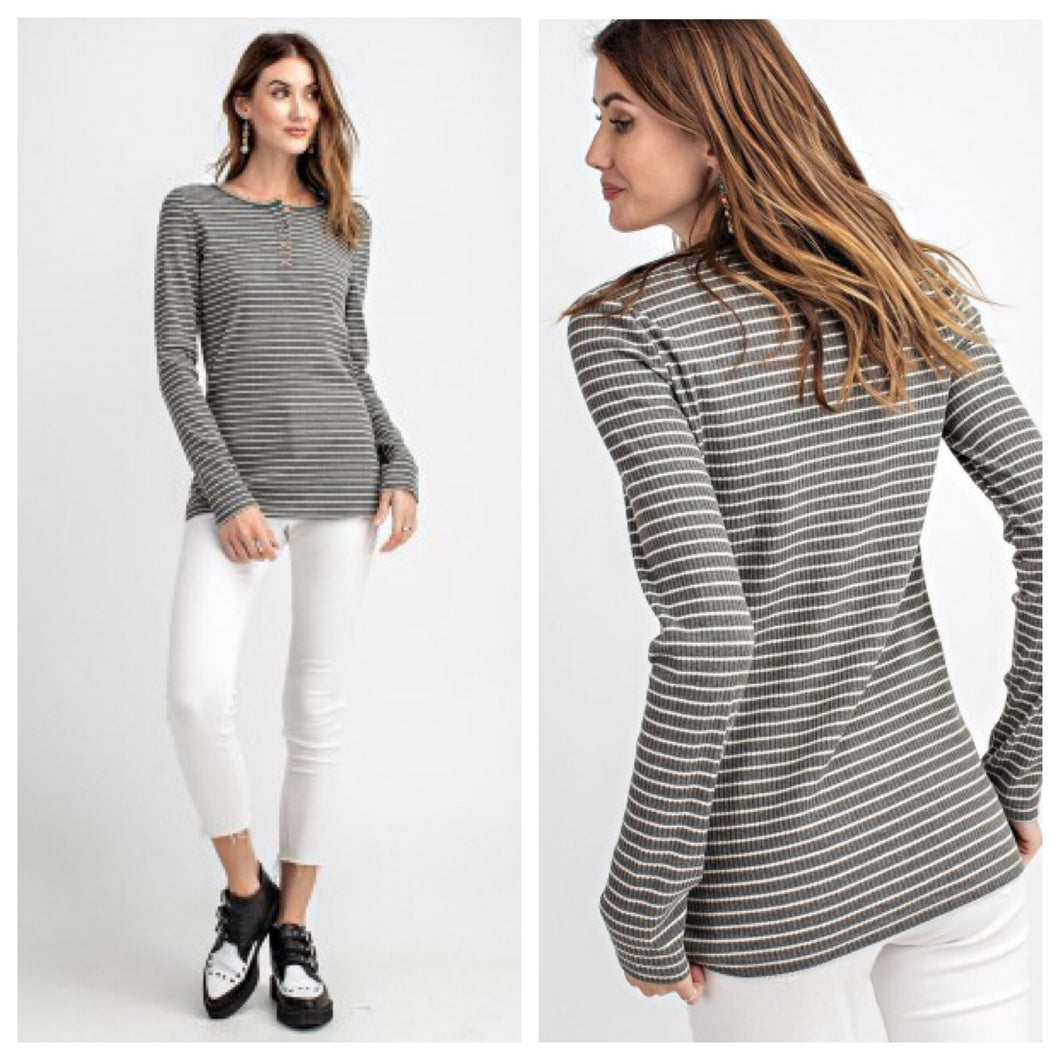 Pin Stripe Ribbed Henley