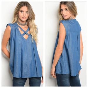 Chloe Chambray Criss-Cross Tunic