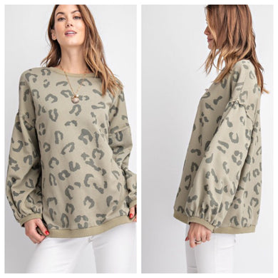 Olive Leopard Pullover