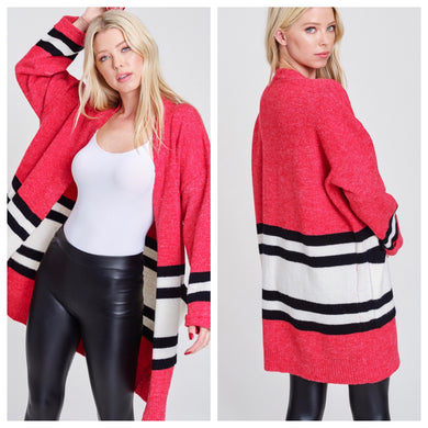 Hot Coral Oversized Cardigan