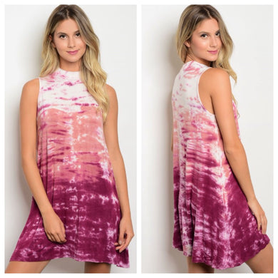 Ruby Ombre Tie Dye Dress