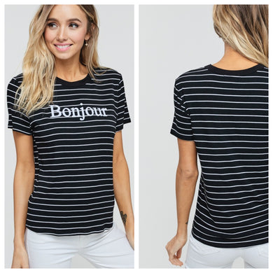 Bonjour Striped Tee
