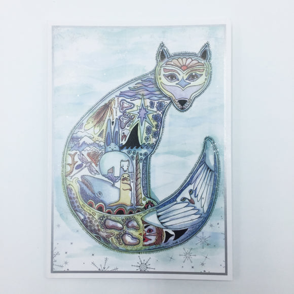 Arctic Fox Holiday Card