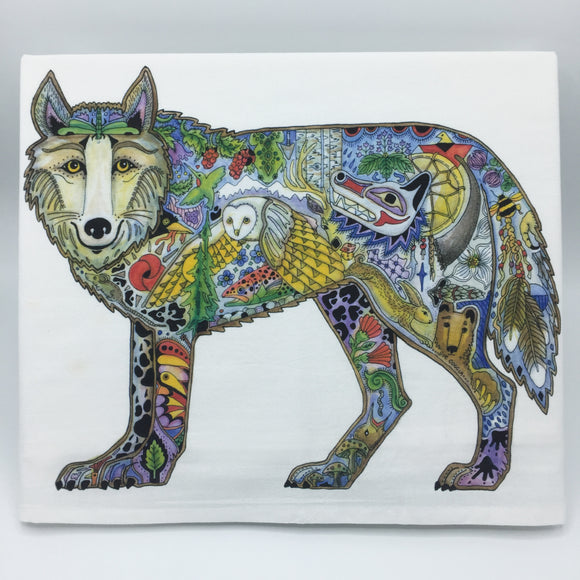 Wolf Standing Flour Sack Towel