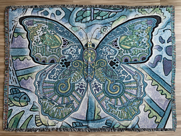 Blue Morpho Butterfly Blanket