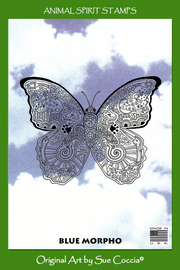Blue Morpho Butterfly Rubber Stamp