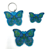 Blue Morpho Magnets, Keychains and Pins
