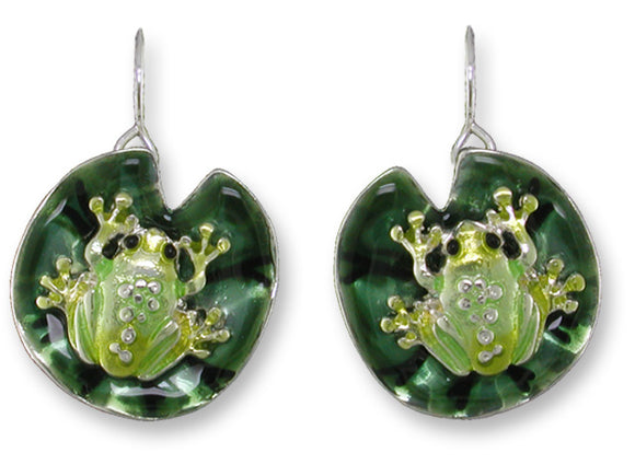 Frog On Lily Pad Earrings
