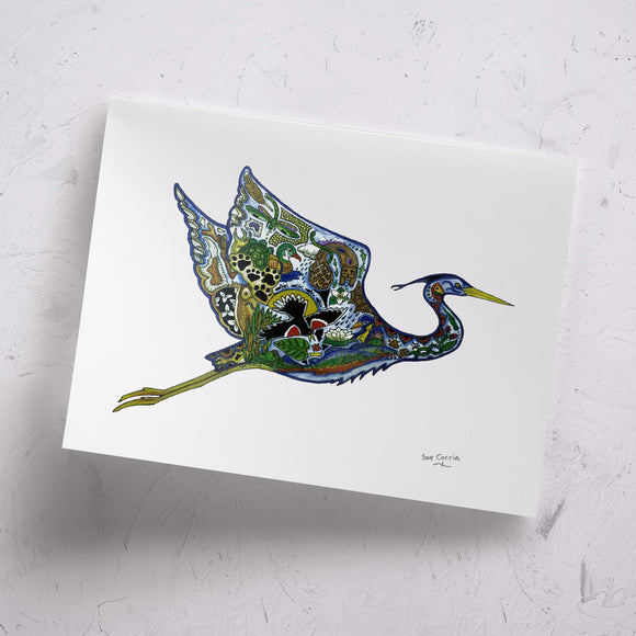 Flying Blue Heron Signed Print