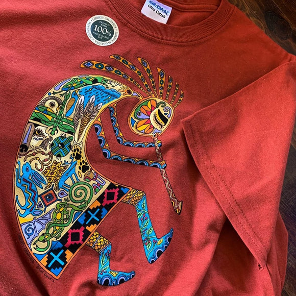 Kokopelli Burnt Red Shirt