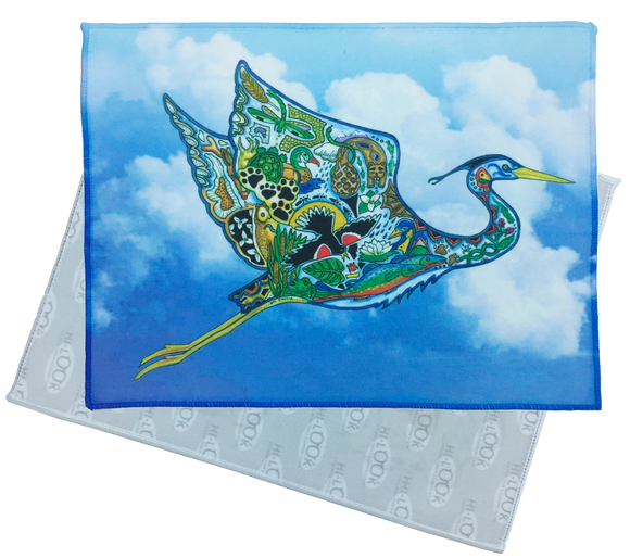 Flying Great Blue Heron Microfiber Cleaning Cloth