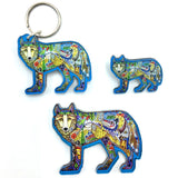 Wolf Standing Magnets, Keychains and Pins