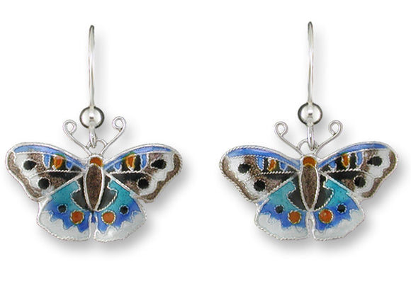 Blue Pansy Butterfly Earrings