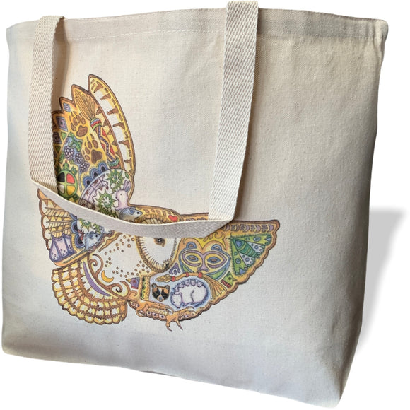 Barn Owl Canvas Tote Bag - Large