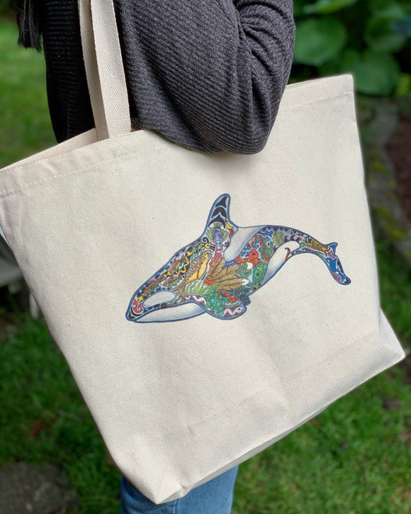 Granny Orca Canvas Tote Bag - Large