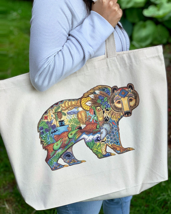 Grizzly Canvas Tote Bag - Large