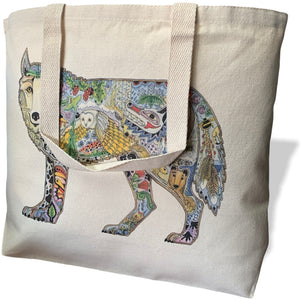 Wolf Canvas Tote Bag - Large