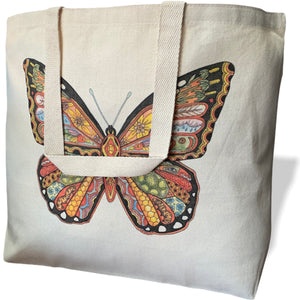 Monarch Butterfly Canvas Tote Bag - Large