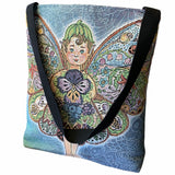 Fairy - Large Woven Tote or Shoulder Bag with Magnetic Clasp 100% Cotton Double Sided