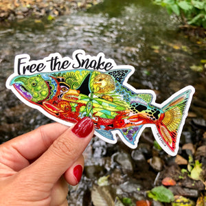 """ Free The Snake "" Chinook Salmon Sticker. 100% of the proceeds from this sticker will go to the Save Our Wild Salmon"
